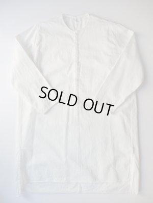 画像1: FIRMUM 30/-ラフコットンツイルロングプルオーバーシャツ WHITE BLEACHED