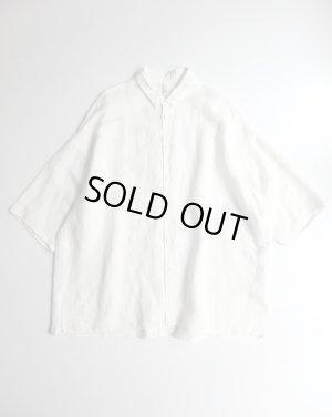 画像1: FIRMUM リネン&レーヨンブロードクロス7分袖シャツ OFF WHITE