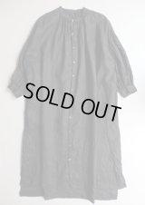 UNIVERSAL TISSU フレンチリネンギャザーシャツドレス クロ