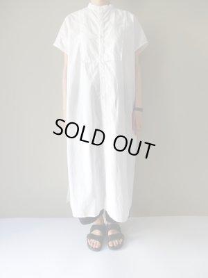 画像1: UNIVERSAL TISSU タイプライターバンドカラーシャツドレス シロ