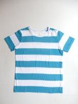 FABRIQUE en planete terre ワイドボーダー半袖Tシャツ ターコイズ